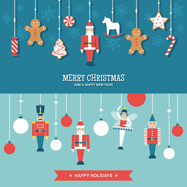 bildbanksillustrationer, clip art samt tecknat material och ikoner med sweets and toys christmas ornaments flat vector banners - christmas decorations