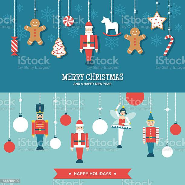 Sweets And Toys Christmas Ornaments Flat Vector Banners Stock Illustration - Download Image Now