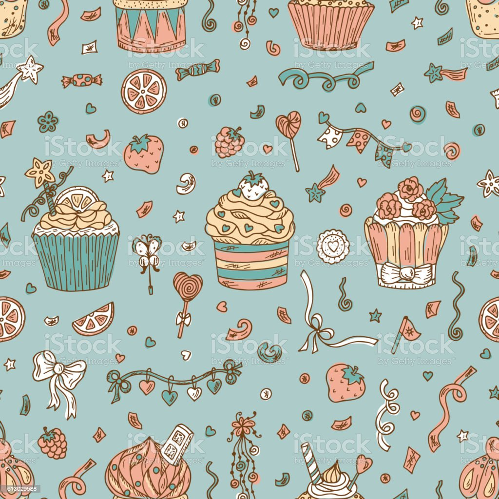 Birthday Background Cupcakes Seamless Pattern Hand Drawn Party Decorations Lizenzfreies Sweets