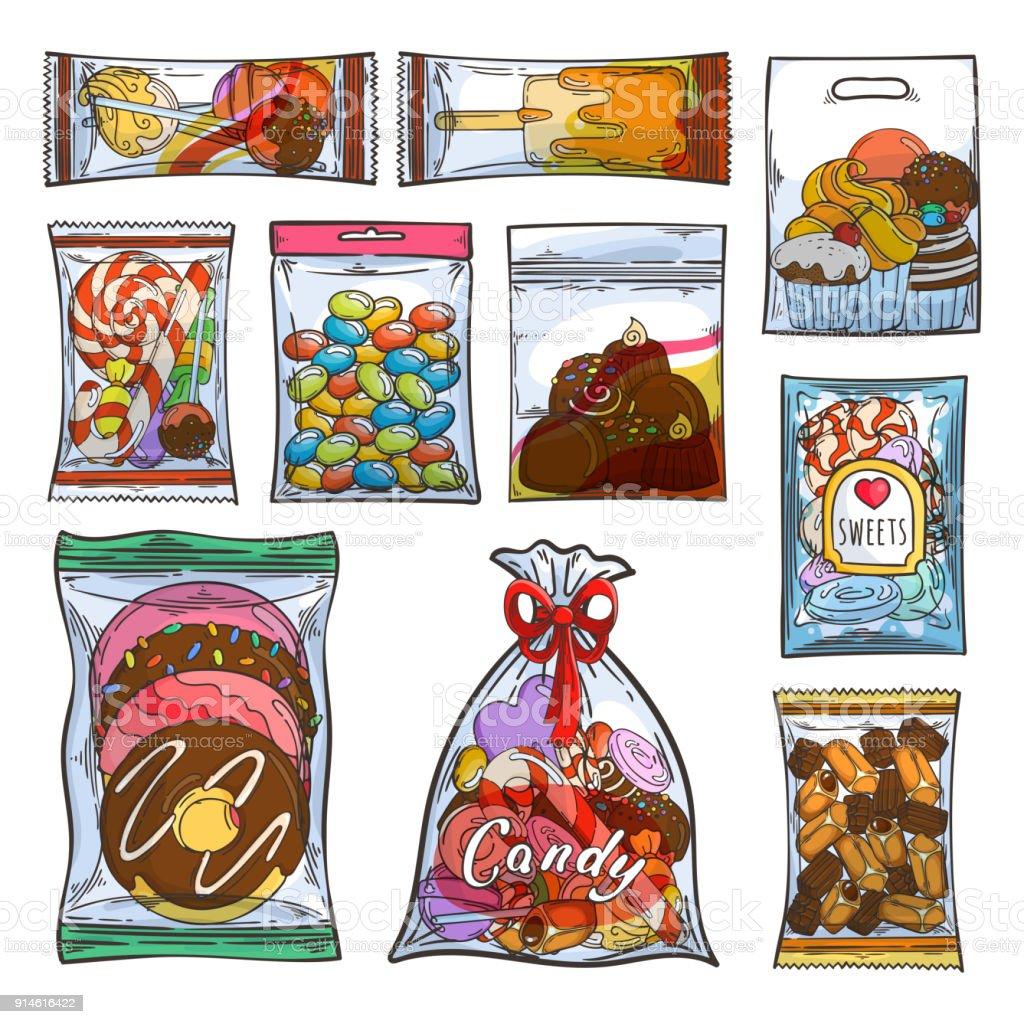 お菓子お菓子やビニール袋やパッケージのケーキ ほっそりしたの