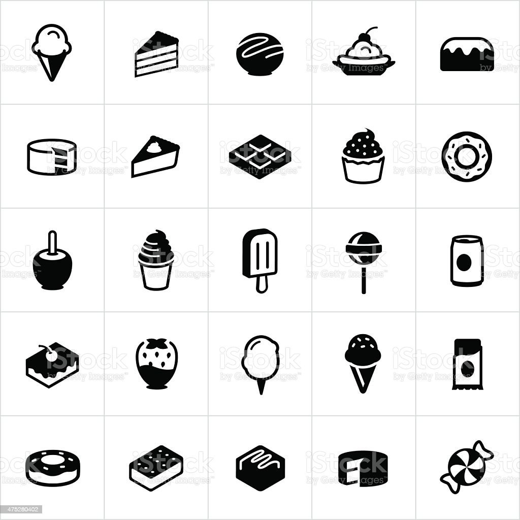 Sweets, Candy and Desserts Icons vector art illustration