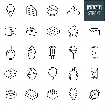 Sweets, Candy and Desserts Thin Line Icons - Editable Stroke