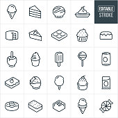 A set of sweets, candy and desserts icons that include editable strokes or outlines using the EPS vector file. The icons include ice cream in an ice cream cone, slice of cake, banana split, cake, piece of pie, candy bar, chocolate, cup cake, bun cake, caramel apple, ice cream, soft serve ice cream, popsicle, sucker, lollipop, soda, pop can, cheese cake, chocolate covered strawberry, cotton candy, doughnut, ice cream sandwich, piece of chocolate, piece of candy and other related icons.