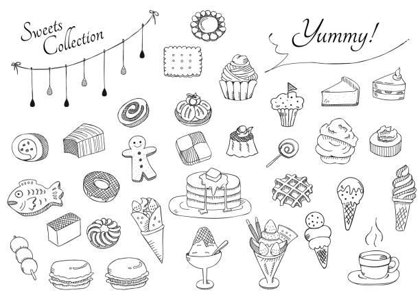 illustrazioni stock, clip art, cartoni animati e icone di tendenza di sweets collection - monte bianco
