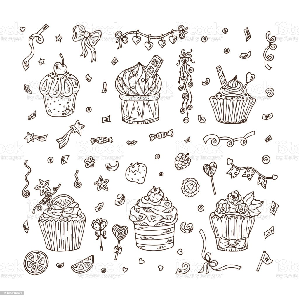 Sweets. Cupcakes hand drawn doodle set. Holiday party attributes vector art illustration