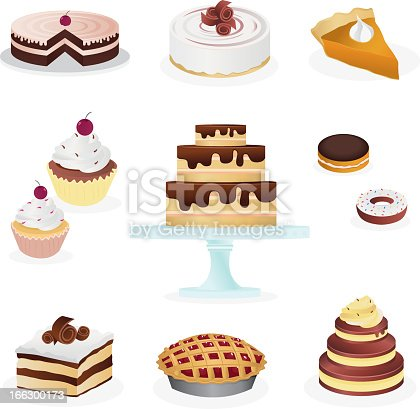 Modern and beautiful array of different sweets, treats & desserts, which consist of 10 cute icons representing doughnuts, cheese cake, chocolate cake, lemon ganache cake, cupcakes, tiramisu, cherry pie, & pumpkin pie