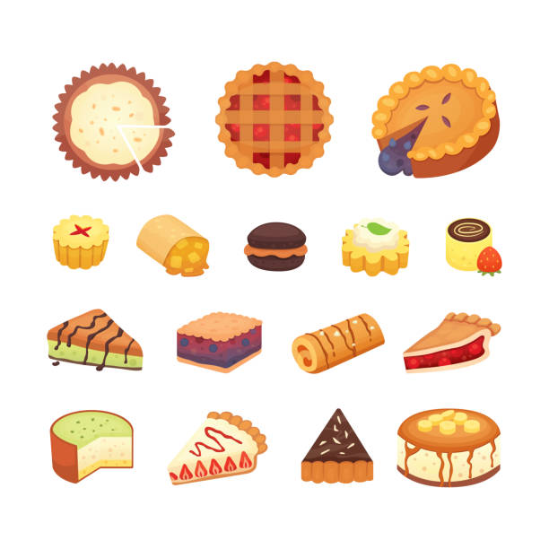 Sweets desserts objects collection, strawberry cakes, fruit and berry sweet pies with cream. Homemade bakery cake dessert pie vector set. Sweets desserts objects collection, strawberry cakes, fruit and berry sweet pies with cream. Homemade bakery cake dessert pie vector set pudding stock illustrations
