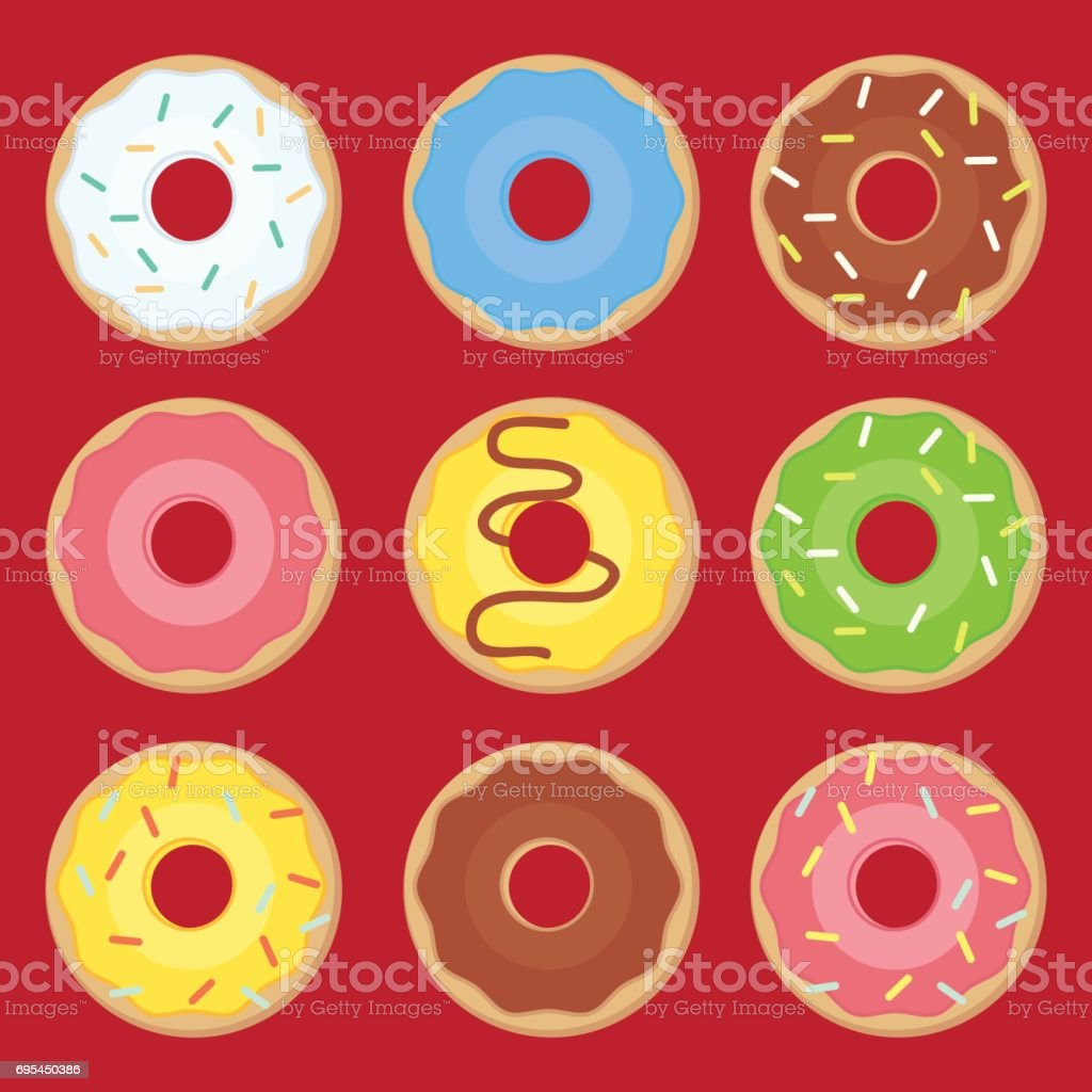 Sweets donuts sugar glazed. Vector fries pastry doughnut icons vector art illustration