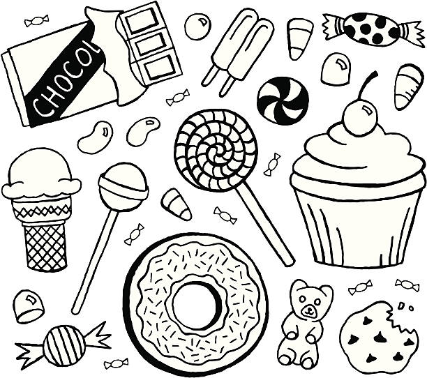 Sweets Doodles A doodle page of candy and sweets. gum drop stock illustrations