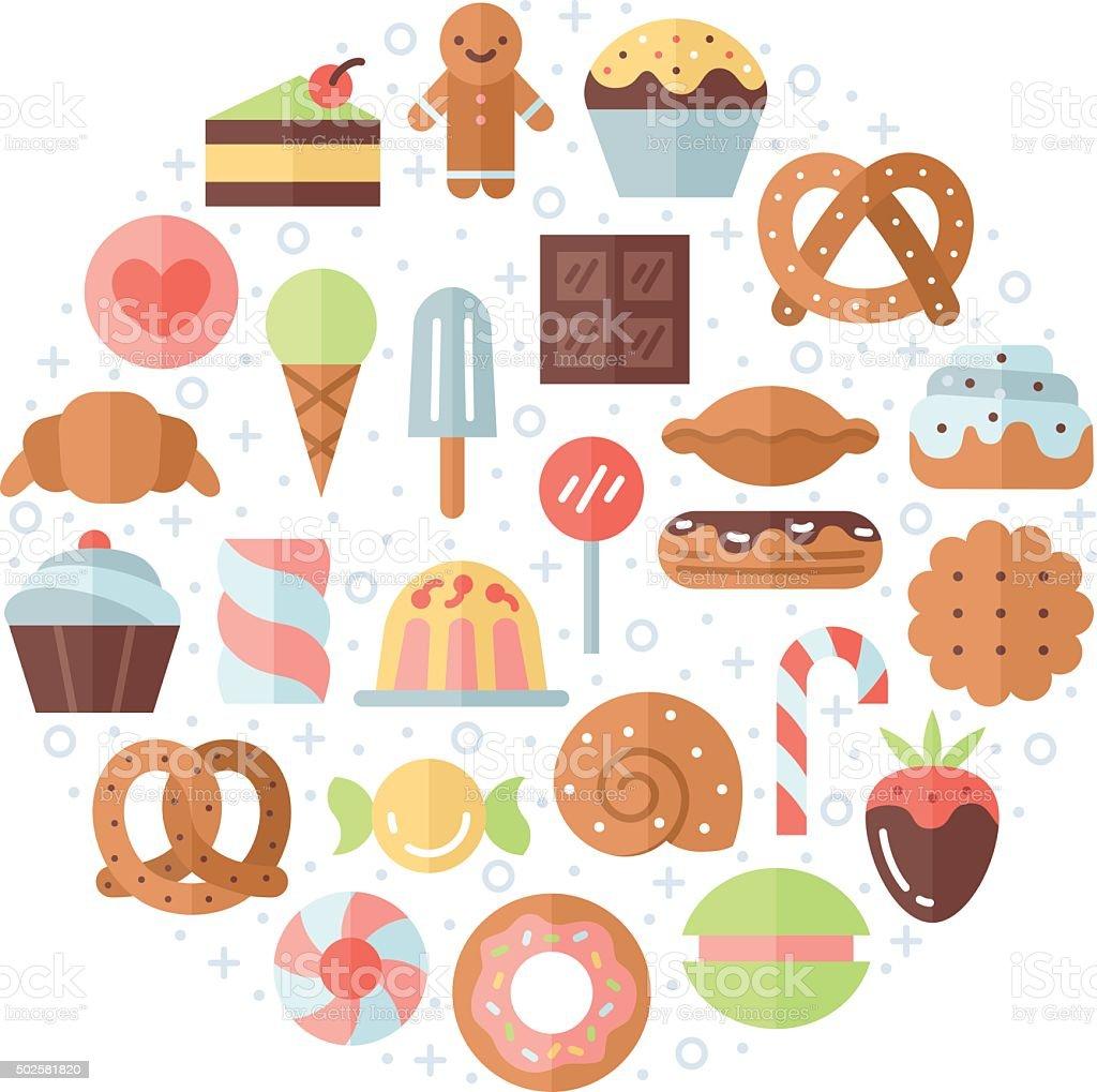 Sweets flat multicolored circle background. Minimalistic design. vector art illustration