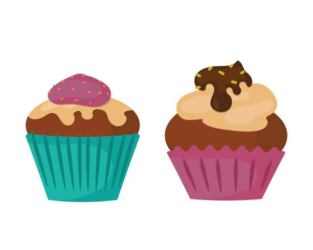 Sweets food bakery dessert sugar confectionery teal birthday cupcake with butter cream icing design and snack chocolate cake holiday candy caramel icon vector illustration vector art illustration
