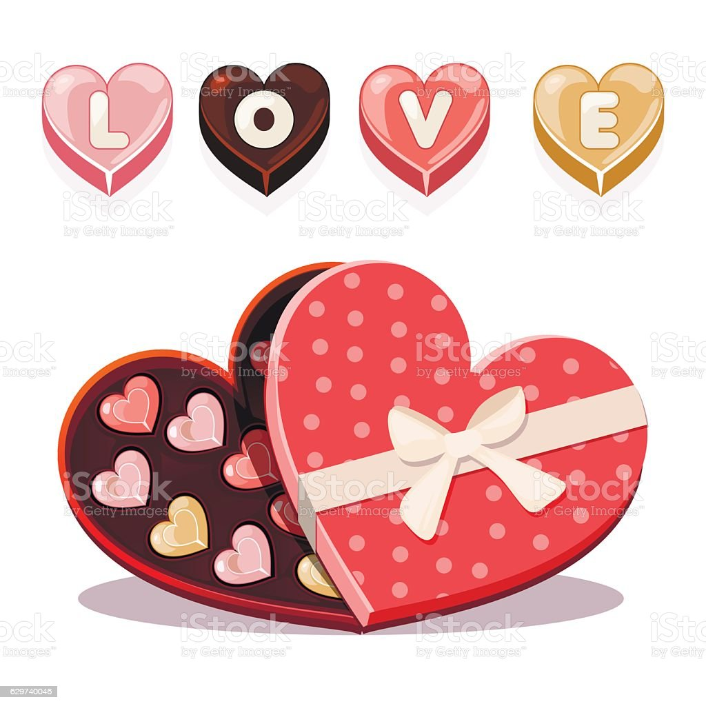 sweets for Valentine s Day in heart shaped vector art illustration