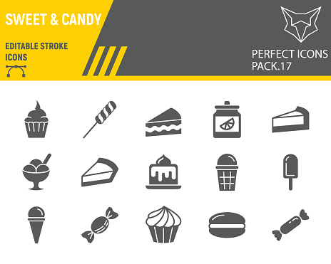 Sweets glyph icon set, desserts collection, vector sketches, logo illustrations, confectionery icons, pastry signs solid pictograms, editable stroke.