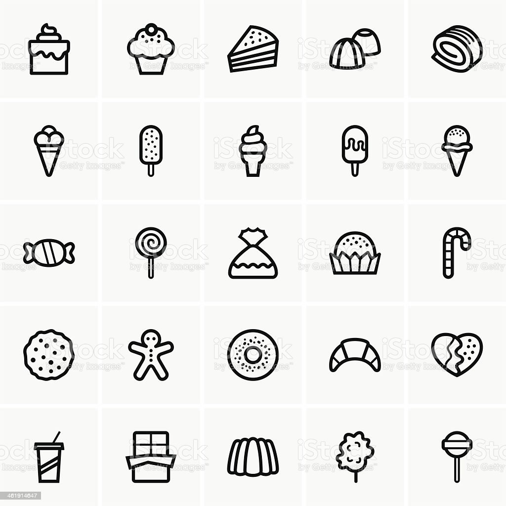 Sweets icons vector art illustration