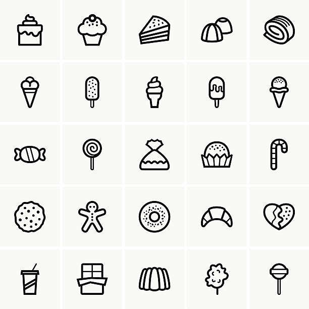 Sweets icons This image is a vector illustration and can be scaled to any size without loss of resolution, can be variated and used for different compositions. This image is an .eps file and you will need a vector editor to use this file, such as Adobe Illustrator. jello stock illustrations