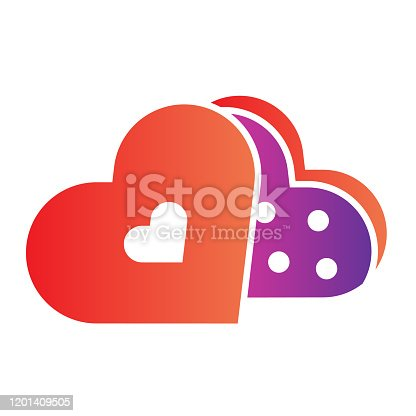 istock Sweets in a heart pack flat icon. Romantic chocolate gift box illustration isolated on white. Dating Valentine Day sweets gradient style design, designed for web and app. Eps 10. 1201409505