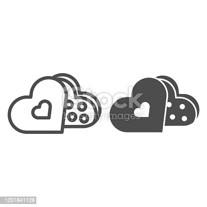 istock Sweets in a heart pack line and solid icon. Romantic chocolate gift box illustration isolated on white. Dating Valentine Day sweets outline style design, designed for web and app. Eps 10. 1201641126