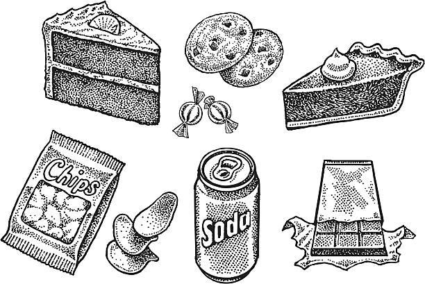 süßigkeiten-kuchen, keksen, kuchen, limonade, chips, süßigkeiten - tortenriegel stock-grafiken, -clipart, -cartoons und -symbole