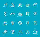 Pixel Perfect - Isolated on Blue - Icon Set #61 Icons are designed in 48x48pх square, outline stroke 2px.  First row of outline icons contains:  Hard Candy, Gelatin Dessert, Pretzel, Jam Jar, Flavored Ice Cream;  Second row contains:  Candy Cane, Croissant,  Slice of Cake, Chocolate Bar, Lollipop;  Third row contains:  Gingerbread Man,  Ice Cream Cone, Strawberry in Chocolate, Popsicle, Coffee Paper Cup;   Fourth row contains:  Honey Dipper, Donut, Birthday Cake, Cupcake, Coffee, Tea Cup.  Complete Bimico collection - https://www.istockphoto.com/collaboration/boards/t8tfiS1uqEecwP9AO9SJmw