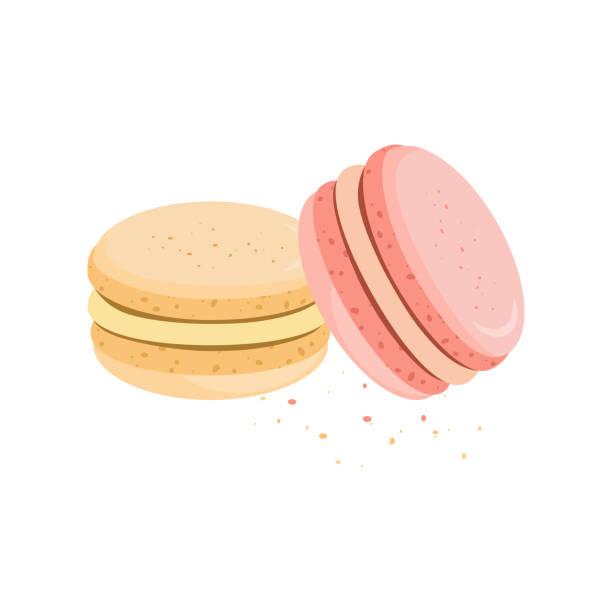 ilustrações, clipart, desenhos animados e ícones de doces, biscoitos de sabor diferente. padaria. ilustração vetorial - macaroon