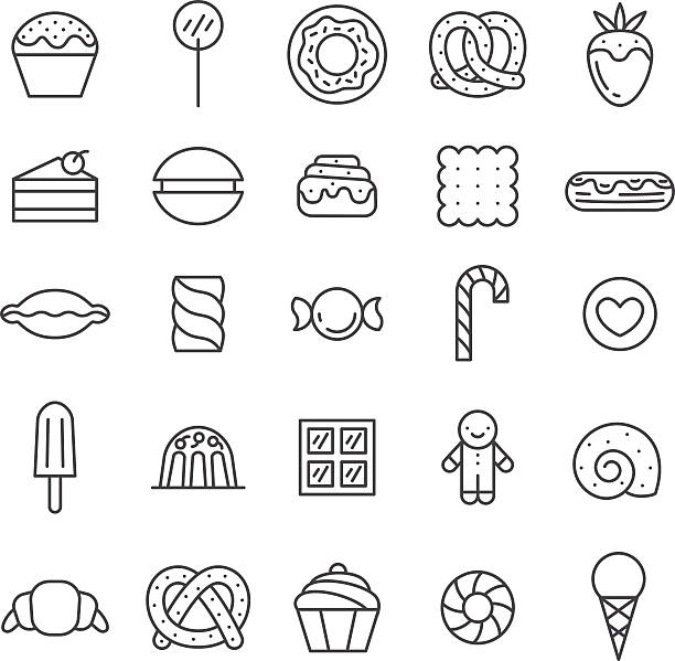 Sweets outline gray icons vector set. Minimalistic design. Sweets outline gray icons vector set. Modern minimalistic design. candy icons stock illustrations
