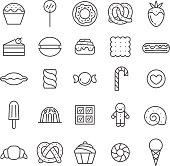 Sweets outline gray icons vector set. Minimalistic design.