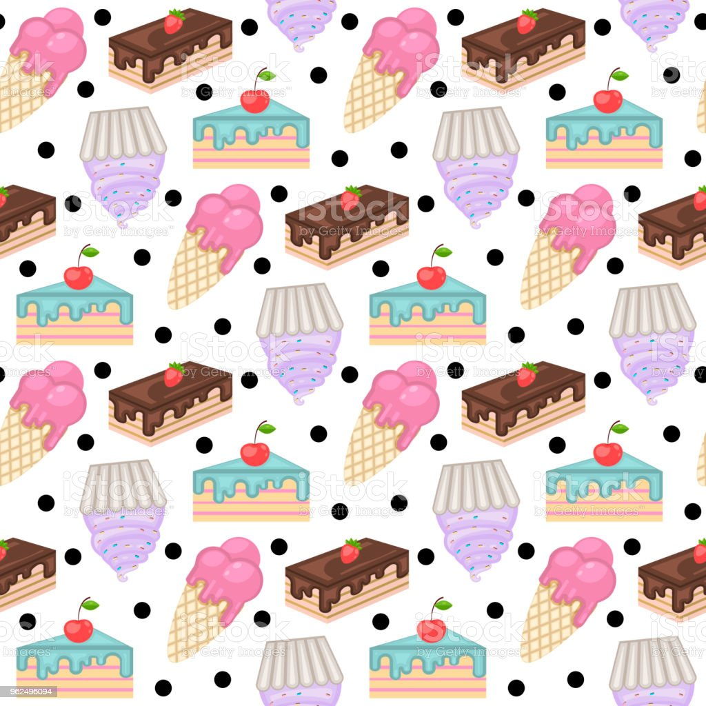 Sweets pattern.Pattern with cake - Royalty-free Bakery stock vector