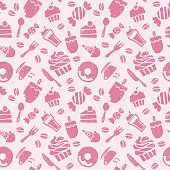 Sweets, coffee, spoon, knife and folk seamless pattern
