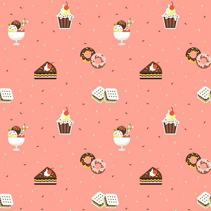 Sweets Seamless Pattern Stock Illustration - Download Image Now