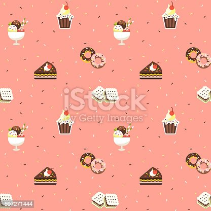 Sweets Seamless Pattern Stock Vector Art & More Images of Abstract 597271444