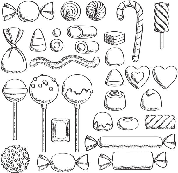 Sweets set. Assorted candies - sketch style. Black and white candies set - hard candy, chocolate bonbons, licorice, marshmallow twists, cake pops, dragee. Vector illustration in sketch style. Assorted sweets. candy icons stock illustrations