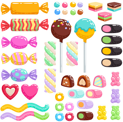 Colorful candies set - hard candy, chocolate bonbons, licorice, marshmallow twists, cake pops, gummy bears, dragee. Vector illustration in cartoon style. Assorted sweets.