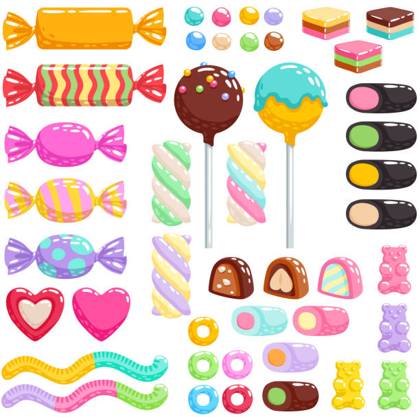Sweets set. Assorted candies Colorful candies set - hard candy, chocolate bonbons, licorice, marshmallow twists, cake pops, gummy bears, dragee. Vector illustration in cartoon style. Assorted sweets. candy stock illustrations