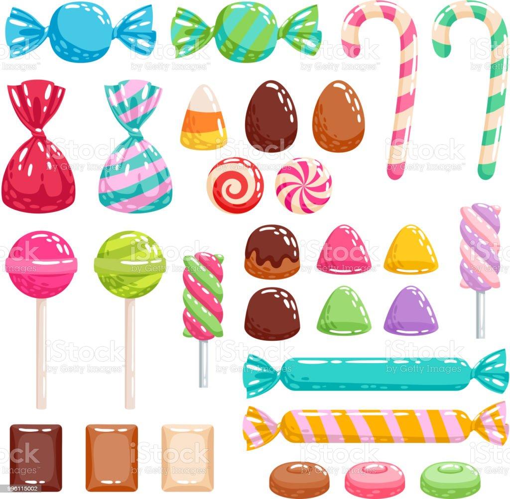 お菓子セット各種お菓子 お菓子の包み紙のベクターアート素材や画像を