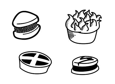 Sweets set, collection, includes alfajor, pastry, lemon pie, milk caramel, dulce de leche.