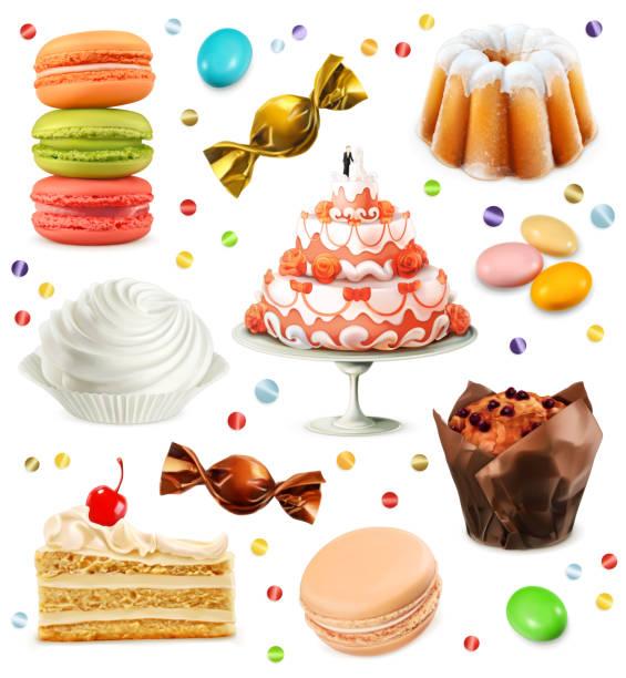 ilustraciones, imágenes clip art, dibujos animados e iconos de stock de dulces, conjunto de iconos vectoriales - magdalena dulces