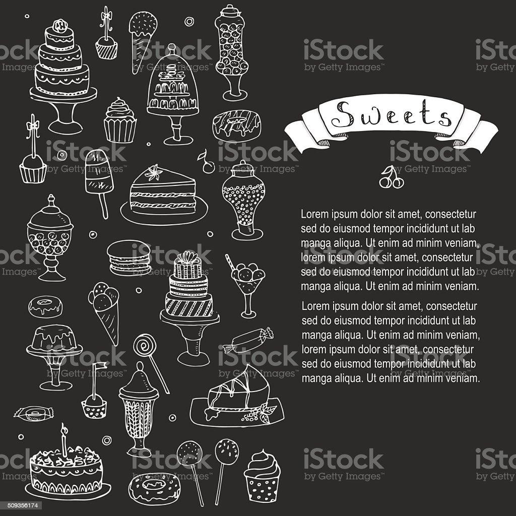 Sweets set vector art illustration