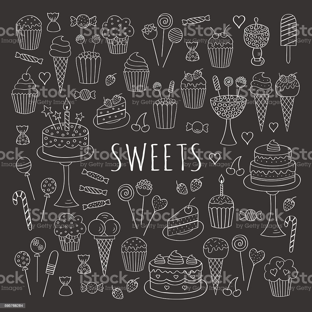 Sweets set vector line icons hand drawn doodle. - Illustration vectorielle