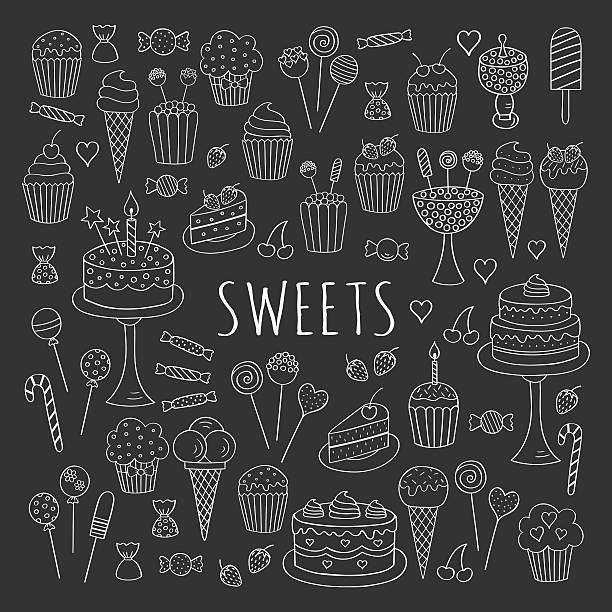 Sweets set vector line icons hand drawn doodle. Sweets set vector line  icons hand drawn doodle. Dessert illustrations pastries, birthday cake, cupcake, ice cream, candy, lollipop, chocolate isolated on chalkboard. cake drawings stock illustrations