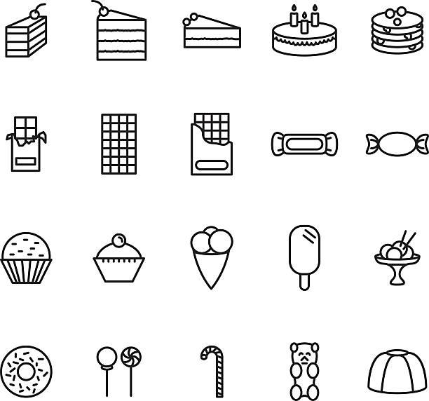 sweets thin line icon set. vector. - tiramisu stock-grafiken, -clipart, -cartoons und -symbole