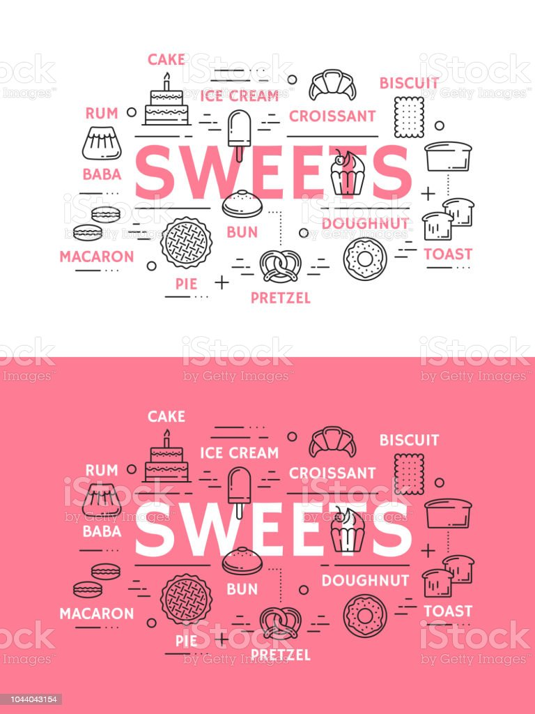 Sweets with cake, bread and ice cream vector art illustration