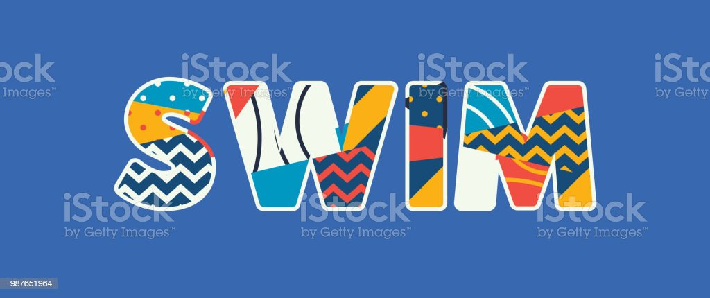 Swim Concept Word Art Illustration vector art illustration