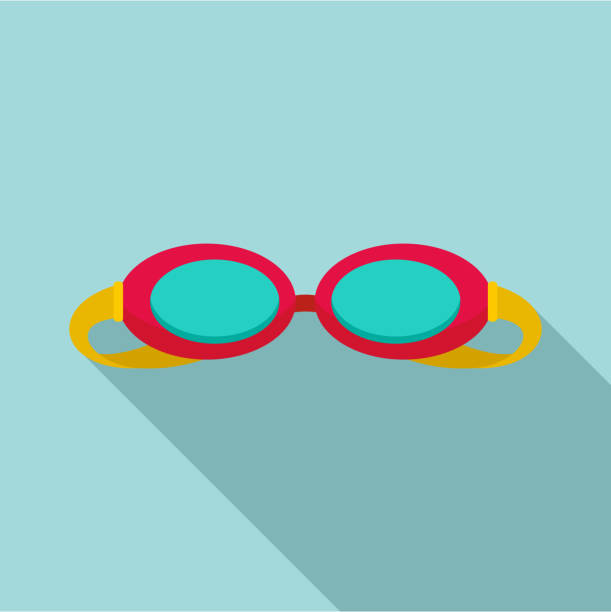 swim glasses icon, flat style - okulary stock illustrations