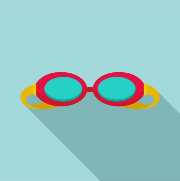 Swim glasses icon, flat style Swim glasses icon. Flat illustration of swim glasses vector icon for web design swimming goggles stock illustrations