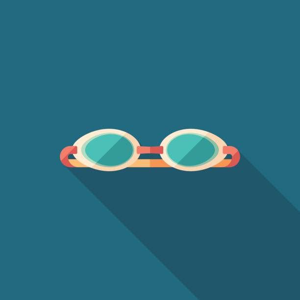 Swim goggles flat square icon with long shadows. Summer time flat square icon. swimming goggles stock illustrations