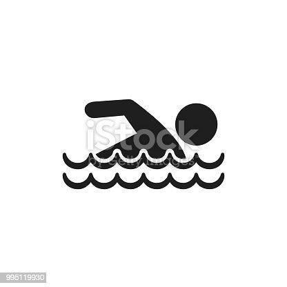 Swim icon, vector isolated swimming man simple symbol.