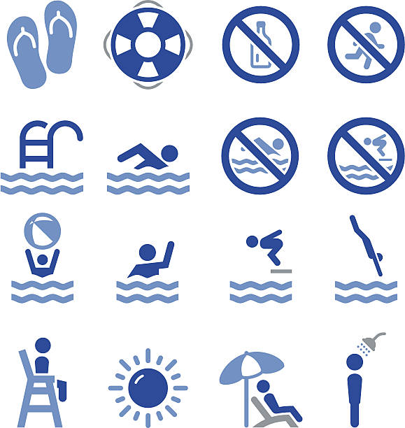 Swim Icons - Pro Series Swimming, pool and diving icon set. Professional icons for your print project or Web site. See more in this series. floating on water stock illustrations