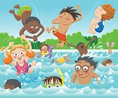 A bunch of happy kids are enjoying their sunny day at the public swimming pool! Transparency used, produced in AI9.