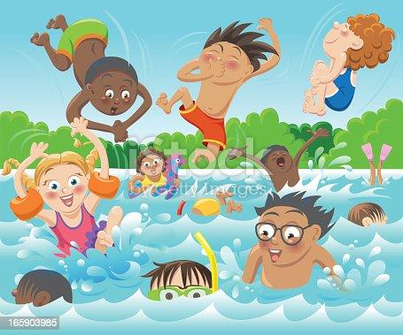 Swim Kids Stock Vector Art Amp More Images Of Black Color