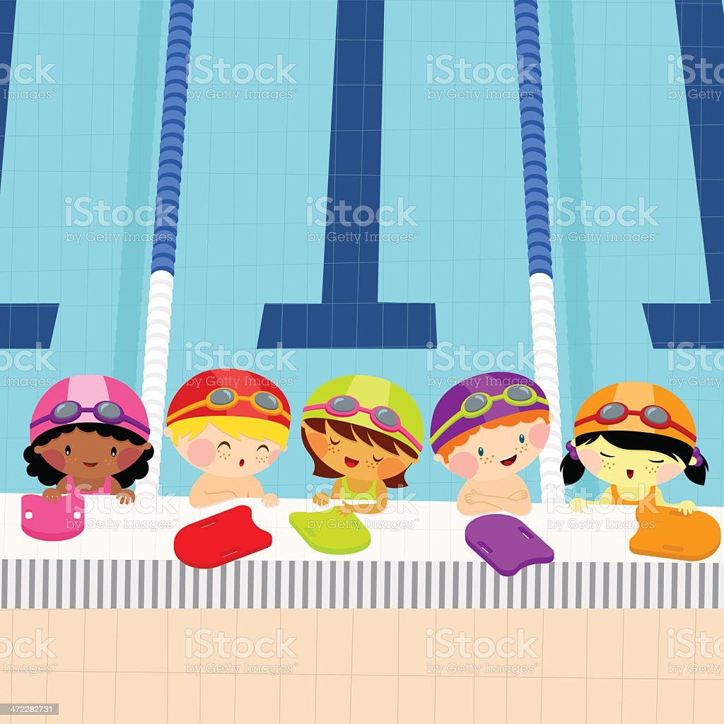 Swim lessons for kids vector art illustration